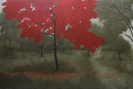 Nature Acrylic Art Painting title 'The Red Tree' by artist Shuvankar Maitra