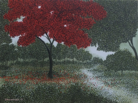 Nature Acrylic Art Painting title 'Tree 2' by artist Shuvankar Maitra