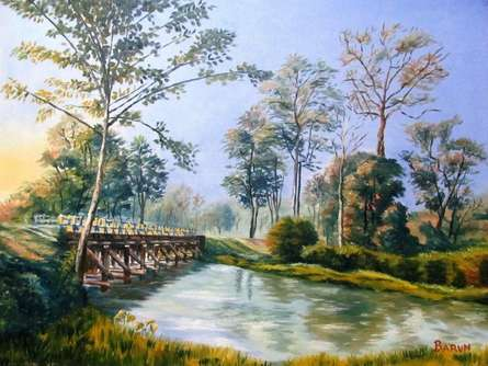 Nature Oil Art Painting title 'Approach Bridge To Holong Bunglow Doaars' by artist Barun Singh