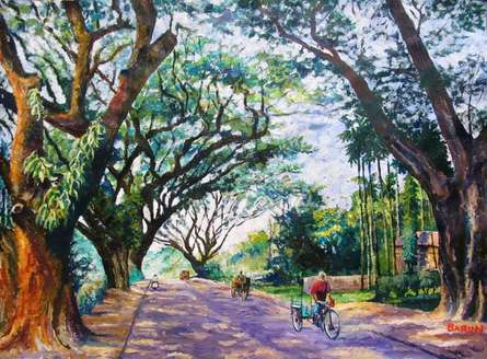 Nature Acrylic Art Painting title 'Northbengal' by artist Barun Singh