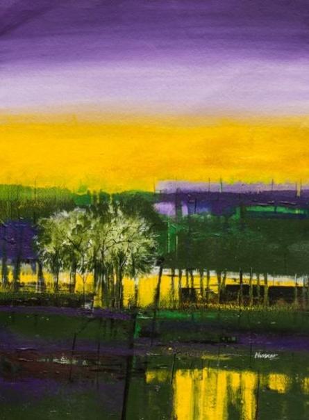 The Nature Purple   Painting by artist Bhaskar Rao   acrylic   Handmade Paper