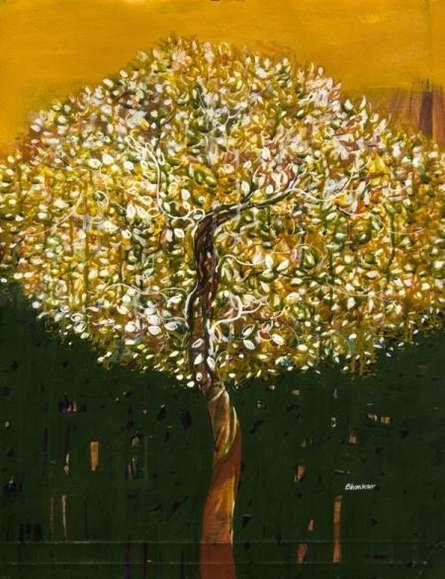 Nature Acrylic Art Painting title 'The Golden Tree' by artist Bhaskar Rao