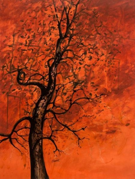 The Orange Tree | Painting by artist Bhaskar Rao | acrylic | Paper
