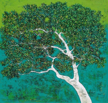 Bhaskar Rao | Acrylic Painting title Treescape 76 on Canvas | Artist Bhaskar Rao Gallery | ArtZolo.com
