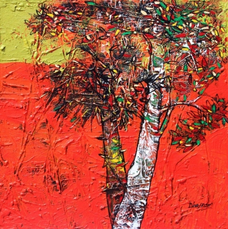 Nature Acrylic Art Painting title 'Treescape 63' by artist Bhaskar Rao