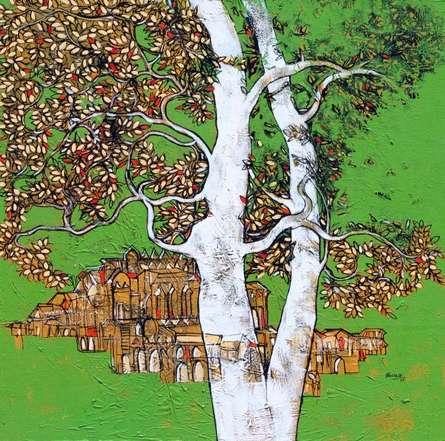 Landscape Acrylic Art Painting title 'Treescape 59' by artist Bhaskar Rao
