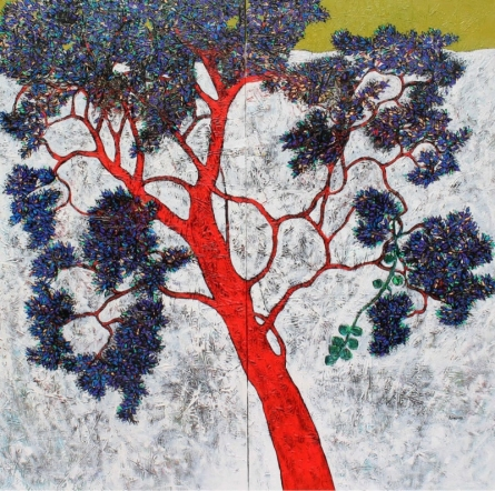 Bhaskar Rao | Acrylic Painting title Treescape 22 on Canvas | Artist Bhaskar Rao Gallery | ArtZolo.com