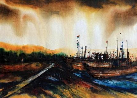 Stormy Sea | Painting by artist Bhaskar Rao | watercolor | Handmade Paper