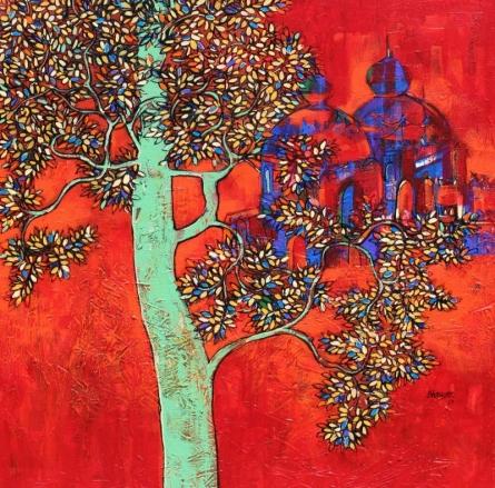 Landscape Acrylic Art Painting title 'Treescape 58' by artist Bhaskar Rao