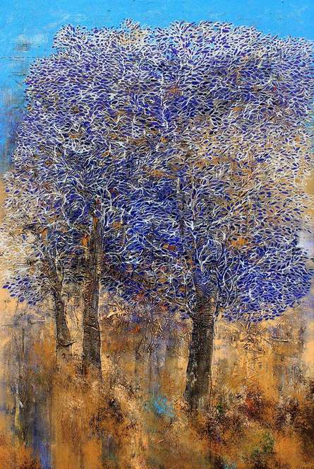 Nature Acrylic Art Painting title Tree Of Life Purple by artist Bhaskar Rao