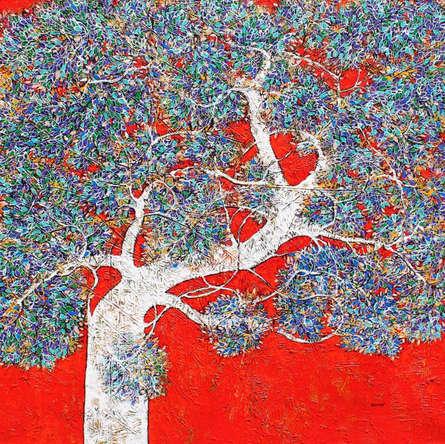 Nature Acrylic Art Painting title 'Treescape 102' by artist Bhaskar Rao