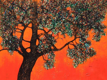 Nature Acrylic Art Painting title Treescape 104 by artist Bhaskar Rao