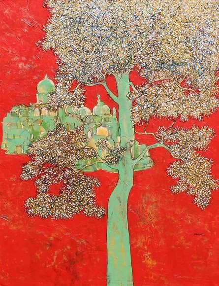 Treescape 4 | Painting by artist Bhaskar Rao | acrylic | Canvas