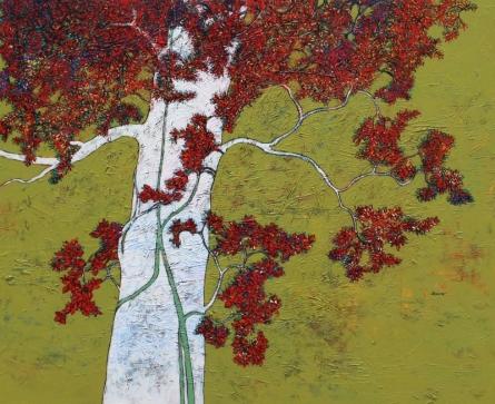 Nature Acrylic Art Painting title Treescape 5 by artist Bhaskar Rao