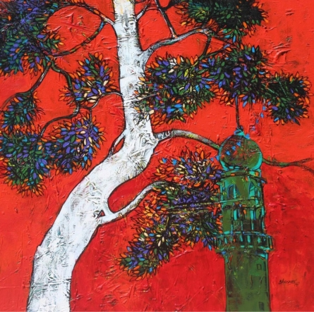 Bhaskar Rao | Acrylic Painting title Treescape 7 on Canvas | Artist Bhaskar Rao Gallery | ArtZolo.com