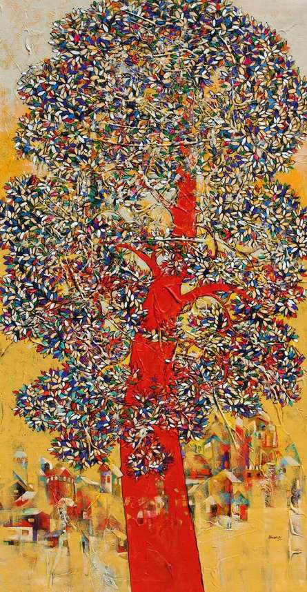 Bhaskar Rao Paintings | Acrylic Painting - Treescape 92 by artist Bhaskar Rao | ArtZolo.com