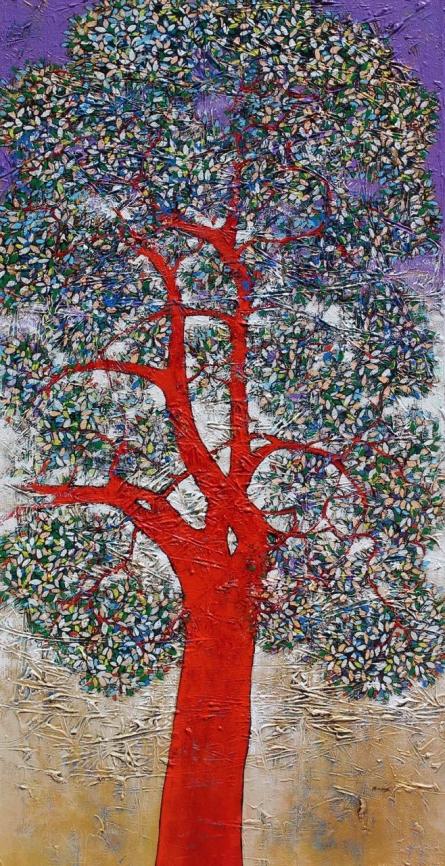 Nature Acrylic Art Painting title 'Treescape 94' by artist Bhaskar Rao