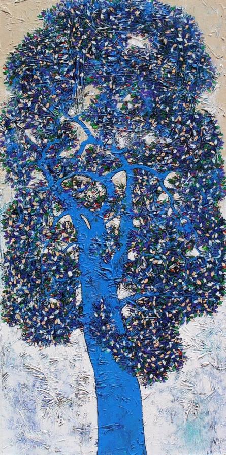 Nature Acrylic Art Painting title Treescape 95 by artist Bhaskar Rao