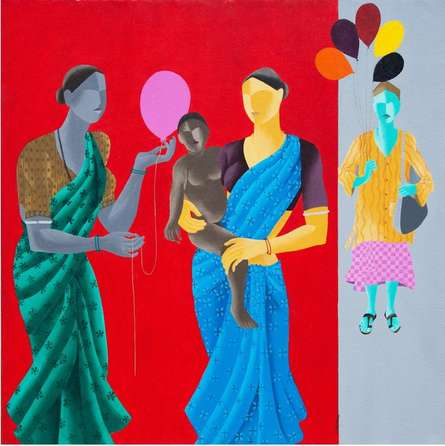 Figurative Acrylic Art Painting title 'Balloon For The Baby' by artist Abhiram Bairu