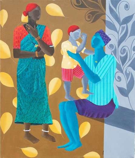 Sweet Family   Painting by artist Abhiram Bairu   acrylic   Canvas