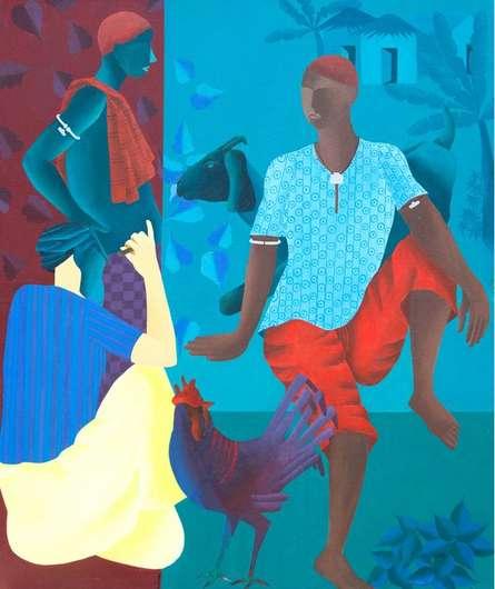 Figurative Acrylic Art Painting title Men In Discussion by artist Abhiram Bairu