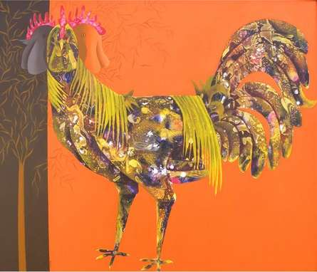 Abhiram Bairu | Acrylic Painting title The Beautiful Hen on Canvas | Artist Abhiram Bairu Gallery | ArtZolo.com