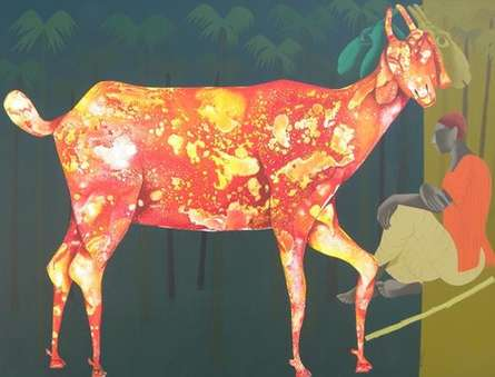 Figurative Acrylic Art Painting title 'Orange Goat' by artist Abhiram Bairu