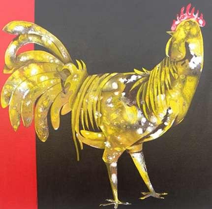 Figurative Acrylic Art Painting title 'The Golden Hen' by artist Abhiram Bairu