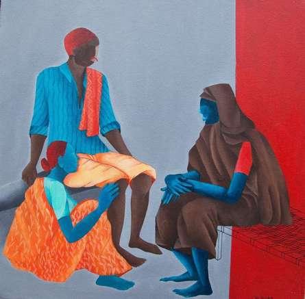 Figurative Acrylic Art Painting title 'Visitor' by artist Abhiram Bairu