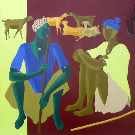 Figurative Acrylic Art Painting title 'Village Men' by artist Abhiram Bairu