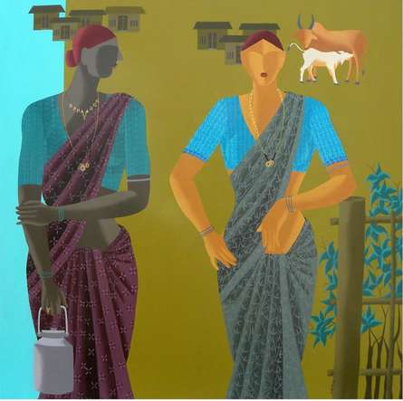Figurative Acrylic Art Painting title The Women by artist Abhiram Bairu