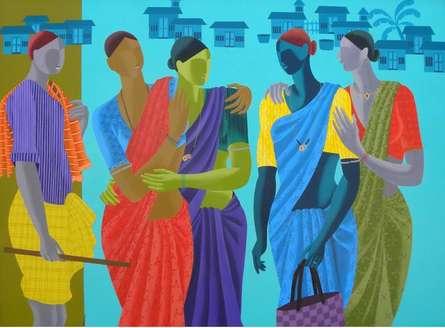 Women Get Together | Painting by artist Abhiram Bairu | acrylic | Canvas