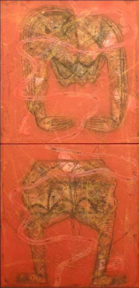 Figurative Mixed-media Art Painting title 'Untitled 3' by artist Sukhendu Paul