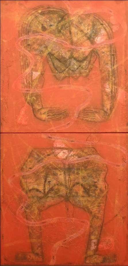 Untitled 3   Painting by artist Sukhendu Paul   mixed-media   Canvas