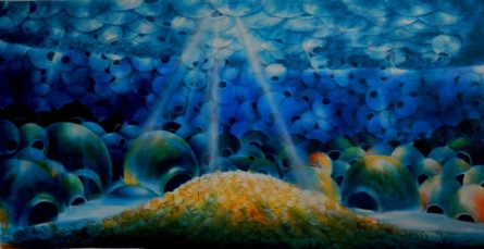 Figurative Acrylic Art Painting title 'Into The Sea' by artist Ranchhor Meghwal