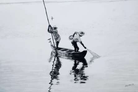 Landscape Charcoal Art Painting title 'Two Men In A Boat' by artist Sripriya Mozumdar