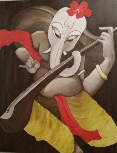 Ganeshay Namah | Painting by artist Roopal Pachauri | oil | Canvas Board