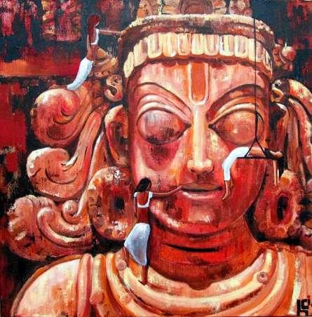 Fantasy Acrylic Art Painting title 'Exploring The Divine Ii' by artist Suruchi Jamkar