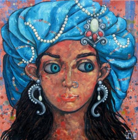 Fantasy Acrylic Art Painting title 'Girl With A Blue Turban' by artist Suruchi Jamkar