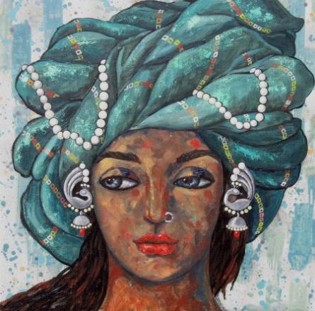 Fantasy Acrylic Art Painting title 'Girl With A Green Turban' by artist Suruchi Jamkar