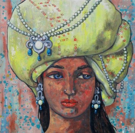 Fantasy Acrylic Art Painting title 'Girl With A Yellow Turban' by artist Suruchi Jamkar