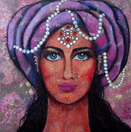 Figurative Acrylic Art Painting title 'Bejewelled III' by artist Suruchi Jamkar