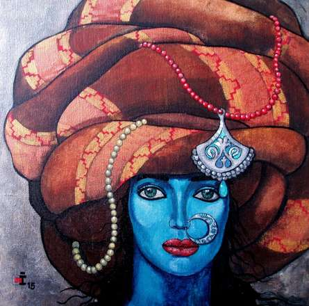 Figurative Acrylic Art Painting title 'Blue girl in a turban' by artist Suruchi Jamkar