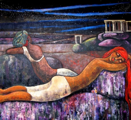 Figurative Acrylic Art Painting title 'Starry Night' by artist Suruchi Jamkar