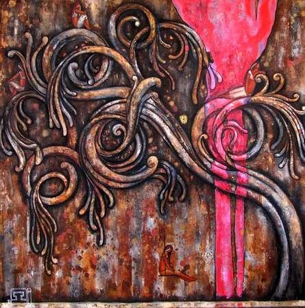 Surrealist Oil Art Painting title 'Ancient Design' by artist Suruchi Jamkar