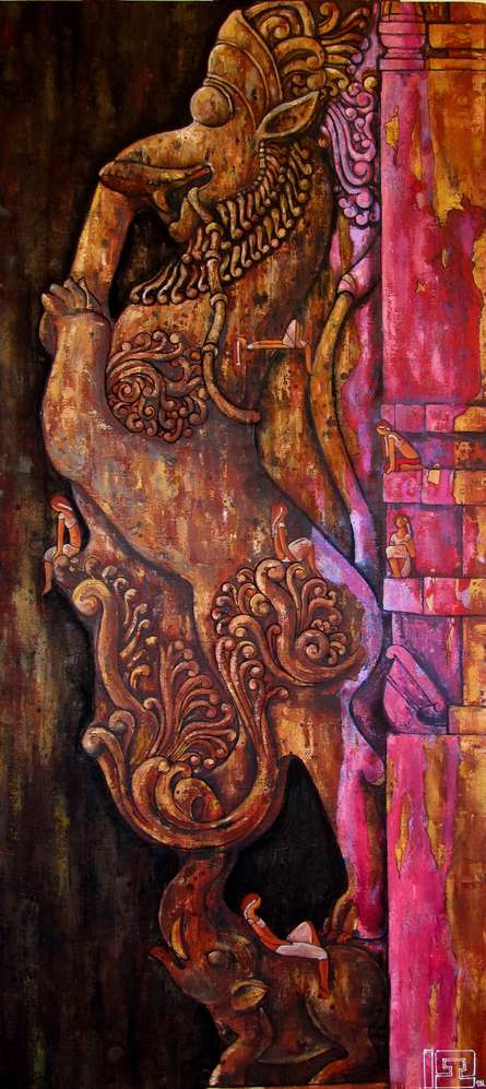 Yali The Protector Of The Gates | Painting by artist Suruchi Jamkar | oil | Canvas
