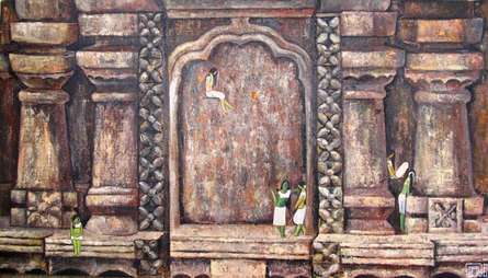 Suruchi Jamkar | Oil Painting title Amidst History on Canvas | Artist Suruchi Jamkar Gallery | ArtZolo.com