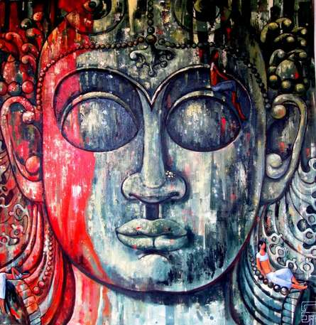 Surrealist Acrylic Art Painting title 'In The Shelter Of Faith Ii' by artist Suruchi Jamkar