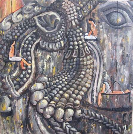 Surrealist Acrylic Art Painting title 'Nandi' by artist Suruchi Jamkar
