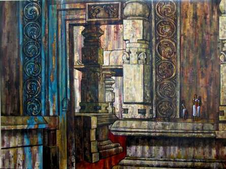 Realistic Oil Art Painting title 'Chat In Temple Courtyard' by artist Suruchi Jamkar